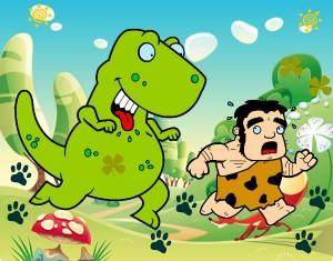 dinosaurio-cazador-culturas-prehistoria-pintado-por-yulis-9788860